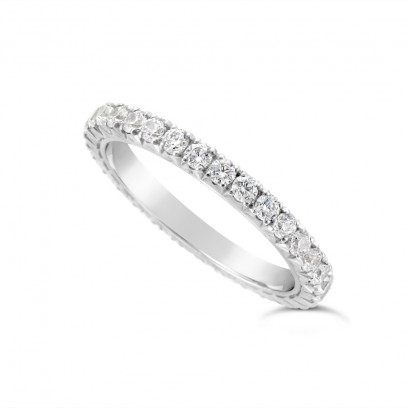 18ct White Gold 2mm Wide Fishtail Diamond Set Wedding Band, Set With 31 Round Brilliant Cut Diamonds All The Way Round In A 4 Prong Fishtail Setting , Total Diamond Weight 1.0ct