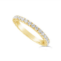18ct Yellow Gold 2mm Wide Fishtail Diamond Set Wedding Band, Set With 31 Round Brilliant Cut Diamonds All The Way Round In A 4 Prong Fishtail Setting , Total Diamond Weight 1.0ct
