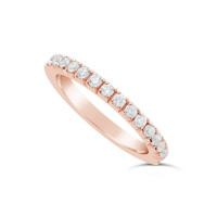18ct Rose Gold 2mm Wide Fishtail Diamond Set Wedding Band, Set With 15 Round Brilliant Cut Diamonds Half Way Round In A 4 Prong Fishtail Setting , Total Diamond Weight 0.50ct