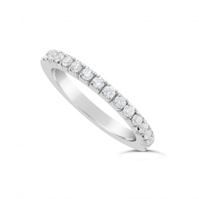 18ct White Gold 2mm Wide Fishtail Diamond Set Wedding Band, Set With 15 Round Brilliant Cut Diamonds Half Way Round In A 4 Prong Fishtail Setting , Total Diamond Weight 0.50ct