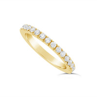 18ct Yellow Gold 2mm Wide Fishtail Diamond Set Wedding Band, Set With 15 Round Brilliant Cut Diamonds Half Way Round In A 4 Prong Fishtail Setting , Total Diamond Weight 0.50ct