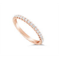 18ct Rose Gold 2mm Wide Fishtail Diamond Set Wedding Band, Set With 36 Round Brilliant Cut Diamonds All The Way Round In A 4 Prong Fishtail Setting , Total Diamond Weight 0.75ct