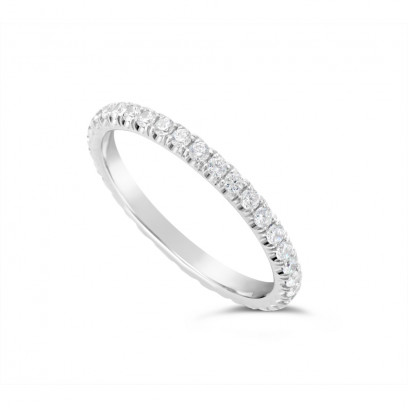 18ct White Gold 2mm Wide Fishtail Diamond Set Wedding Band, Set With 36 Round Brilliant Cut Diamonds All The Way Round In A 4 Prong Fishtail Setting , Total Diamond Weight 0.75ct