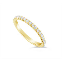 18ct Yellow Gold 2mm Wide Fishtail Diamond Set Wedding Band, Set With 36 Round Brilliant Cut Diamonds All The Way Round In A 4 Prong Fishtail Setting , Total Diamond Weight 0.75ct
