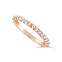 18ct Rose Gold 2.2mm Undercut Set Diamond Wedding Band, Set With 18 Round Brilliant Cut Diamonds Half Way Round In A 4 Undercut Setting , Total Diamond Weight 0.38ct