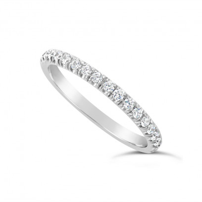 18ct White Gold 2.2mm Undercut Set Diamond Wedding Band, Set With 18 Round Brilliant Cut Diamonds Half Way Round In A 4 Undercut Setting , Total Diamond Weight 0.38ct