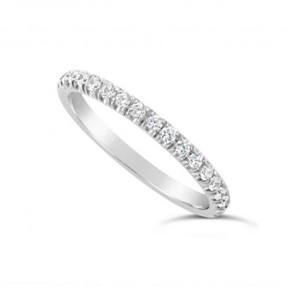 18ct White Gold 2.2mm Undercut Set Diamond Wedding Band, Set With 18 Round Brilliant Cut Diamonds Half Way Round In A 4 Undercut Setting , Total Diamond Weight 0.38ct