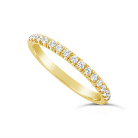 18ct Yellow Gold 2.2mm Undercut Set Diamond Wedding Band, Set With 18 Round Brilliant Cut Diamonds Half Way Round In A 4 Undercut Setting , Total Diamond Weight 0.38ct