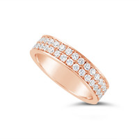 18ct Rose Gold 5mm 2 Row Pave Set Diamond Wedding Band, Set With 66 Round Brilliant Cut Diamonds All The Way Round In Pave Setting , Total Diamond Weight 1.50ct
