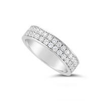 Platinum 5mm 2 Row Pave Set Diamond Wedding Band, Set With 66 Round Brilliant Cut Diamonds All The Way Round In Pave Setting , Total Diamond Weight 1.50ct