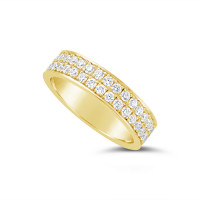 18ct Yellow Gold 5mm 2 Row Pave Set Diamond Wedding Band, Set With 66 Round Brilliant Cut Diamonds All The Way Round In Pave Setting , Total Diamond Weight 1.50ct