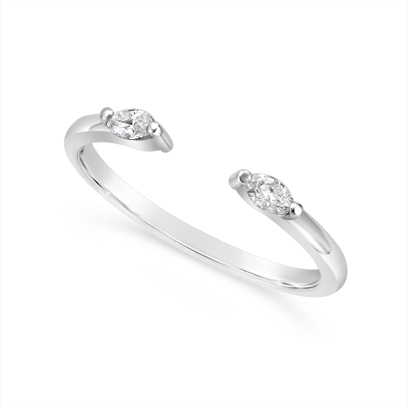 18ct White Gold  Wedding Band Set With 2 Marquise Diamond With A Gap To Sit Flush Next To An Engagement Ring, Total Diamond Weight 0.12ct