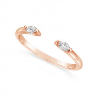 18ct Rose Gold  Wedding Band Set With 2 Marquise Diamond With A Gap To Sit Flush Next To An Engagement Ring, Total Diamond Weight 0.12ct