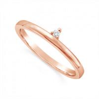 18ct Rose Gold Narrow Diamond Wedding Band, Set With 1 Round Diamonds. Total Diamond Weight 0.02ct
