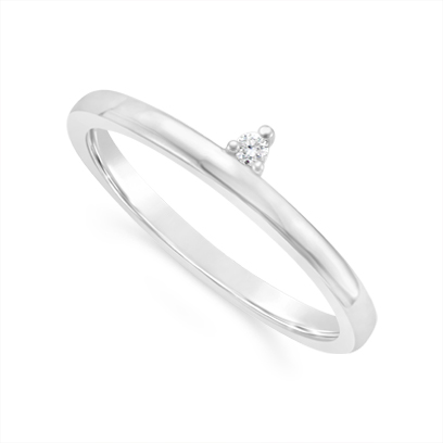 18ct White Gold Narrow Diamond Wedding Band, Set With 1 Round Diamonds. Total Diamond Weight 0.02ct