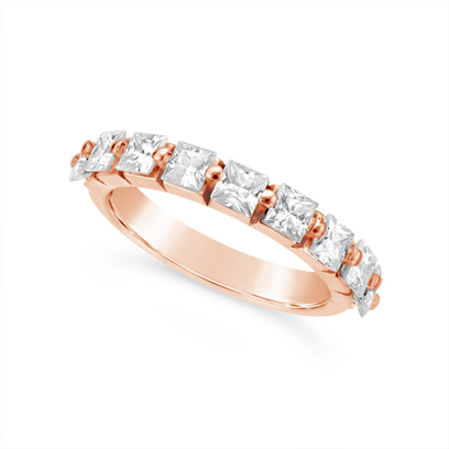 Fine Quality 18ct Rose Gold Unique Princess Cut Wedding Band Set With 9 Diamonds, Total Diamond Weight 1.35ct