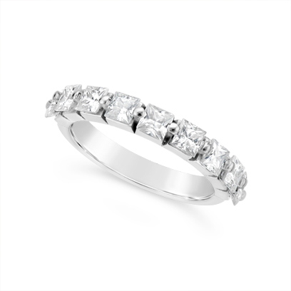 Fine Quality 18ct White Gold Unique Princess Cut Wedding Band Set With 9 Diamonds, Total Diamond Weight 1.35ct