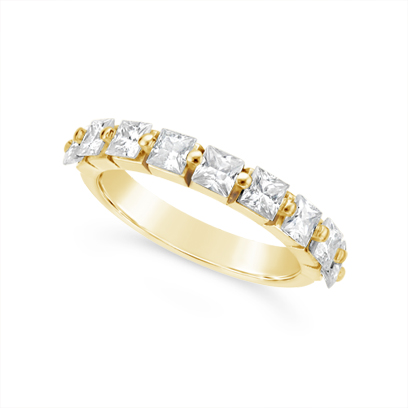 Fine Quality 18ct Yellow Gold Unique Princess Cut Wedding Band Set With 9 Diamonds, Total Diamond Weight 1.35ct