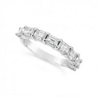 Fine Quality Platinum Unique Emerald Cut Wedding Band Set With 8 Diamonds, Total Diamond Weight 1.60ct