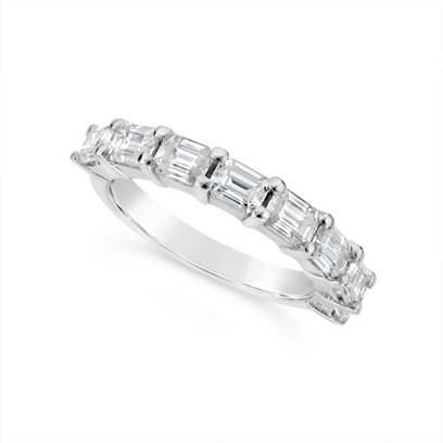 Fine Quality 18ct White Gold Unique Emerald Cut Wedding Band Set With 8 Diamonds, Total Diamond Weight 1.60ct