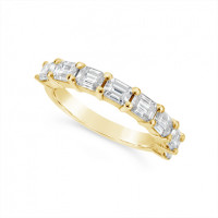 Fine Quality 18ct Yellow Gold Unique Emerald Cut Wedding Band Set With 8 Diamonds, Total Diamond Weight 1.60ct