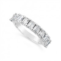 Fine Quality Platinum Unique Emerald Cut Wedding Band Set With 10 Diamonds, Total Diamond Weight 2.0ct