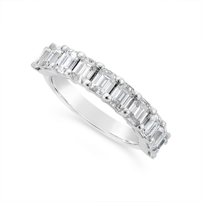 Fine Quality 18ct White Gold Unique Emerald Cut Wedding Band Set With 10 Diamonds, Total Diamond Weight 2.0ct