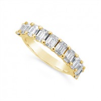 Fine Quality 18ct Yellow Gold Unique Emerald Cut Wedding Band Set With 10 Diamonds, Total Diamond Weight 2.0ct