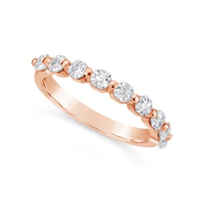 Fine Quality 18ct Rose Gold Unique Asscher Cut Diamond Wedding Band Set With 9 Diamonds, Total Diamond Weight 0.90ct