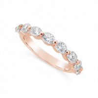 Fine Quality 18ct Rose Gold Unique Oval Cut Diamond Wedding Band Set With 8 Diamonds, Total Diamond Weight 1.60ct
