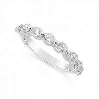 Fine Quality Platinum Unique Oval Cut Diamond Wedding Band Set With 8 Diamonds, Total Diamond Weight 1.60ct