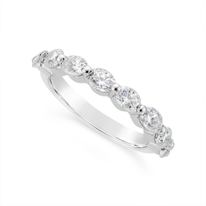 Fine Quality 18ct White Gold Unique Oval Cut Diamond Wedding Band Set With 8 Diamonds, Total Diamond Weight 1.60ct