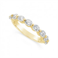 Fine Quality 18ct Yellow Gold Unique Oval Cut Diamond Wedding Band Set With 8 Diamonds, Total Diamond Weight 1.60ct