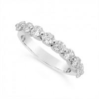 Fine Quality Platinum Unique Asscher Cut Diamond Wedding Band Set With 9 Diamonds, Total Diamond Weight 1.35ct