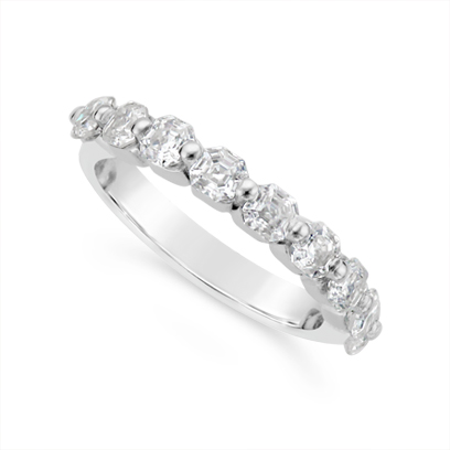 Fine Quality 18ct White Gold Unique Asscher Cut Diamond Wedding Band Set With 9 Diamonds, Total Diamond Weight 1.35ct