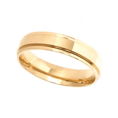 9ct Yellow Gold Gents 5mm Diamond Cut Wedding Band