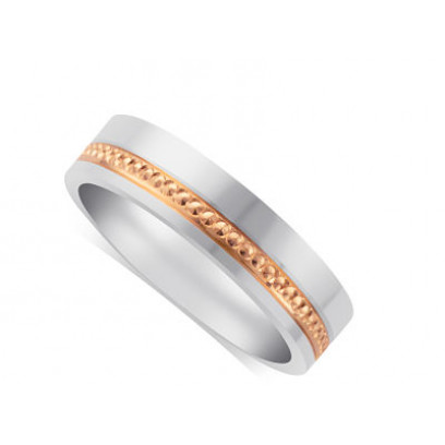 18ct White Gold Gents 5mm Wedding Ring, With A 3mm 18ct Rose Gold Centre Band