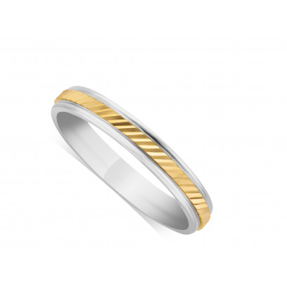 9ct White Gold Ladies 3mm Wedding Ring, With A 2mm 9ct Yellow Gold Centre Band