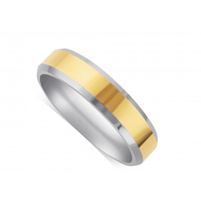 9ct White Gold Gents 5mm Wedding Ring, With A 3mm 9ct Yellow Gold Centre Band