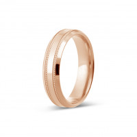 18ct Rose Gold Gents 5mm Diamond Cut Wedding Band