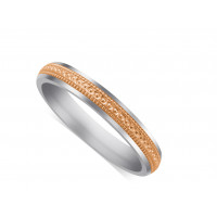 9ct White Gold Gents 5mm Wedding Ring, With A 3mm 9ct Rose Gold Centre Band