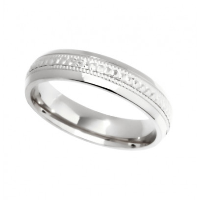 18ct White Gold Gents 5mm Diamond Cut Wedding Band