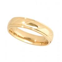 18ct Yellow Gold Gents 5mm Diamond Cut Wedding Band