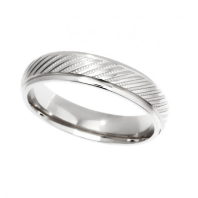 9ct White Gold Gents 5mm Diamond Cut Wedding Band