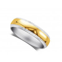 18ct White Gold Ladies 3mm Wedding Ring, With A 2mm 18ct Yellow Gold Centre Band