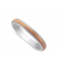 9ct White Gold Ladies 3mm Wedding Ring, With A 2mm 9ct Rose Gold Centre Band