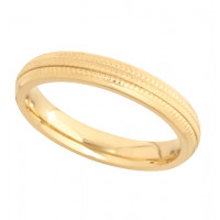 18ct Yellow Gold Ladies 3mm Diamond Cut Wedding Band