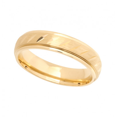 9ct Yellow Gold Gents 5mm Diamond Cut Wedding Band