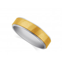 Platinum Gents 5mm Wedding Ring, With A 3mm 18ct Yellow Gold Centre Band