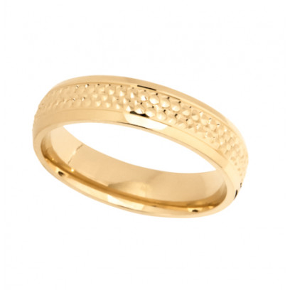 18ct Yellow Gold Gents 5mm Diamond Cut Wedding Band